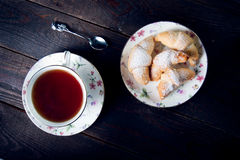 Croissant with jam and tea for breakfast Royalty Free Stock Image
