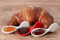 Croissant and jam Royalty Free Stock Images