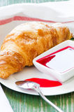 Croissant and jem Stock Photography