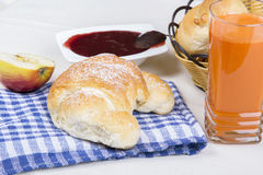 Croissant, juice, bagels and jam, breakfast Royalty Free Stock Image
