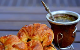 Mate tea and croissant  Royalty Free Stock Photo
