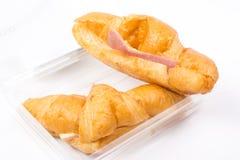 Croissant met Ham en Kaas Royalty-vrije Stock Afbeelding