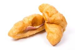 Croissant met Ham en Kaas Royalty-vrije Stock Fotografie