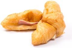 Croissant met Ham en Kaas Stock Afbeelding