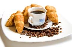 Croissant met koffie Royalty-vrije Stock Foto's