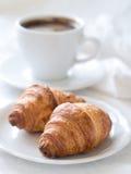 Croissant met koffie Stock Afbeelding