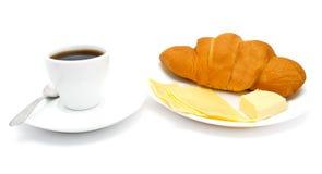 Croissant met koffie en kaas Royalty-vrije Stock Foto's
