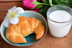 Croissant and milk Stock Photography
