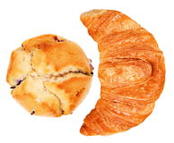 Croissant and muffin isolated Stock Image