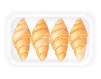 Croissant nell'illustrazione d'imballaggio di vettore Immagine Stock