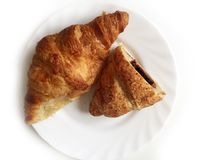 Croissant with nougat and chocolate Stock Photography