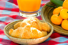 Croissant and orange juice Royalty Free Stock Photo