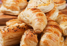 Croissant and other puff pastry. Croissants, sesame buns and other puff pastry Stock Photography