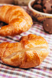 Croissant over the cloth Stock Photography