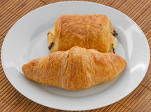 Croissant and a Pain au Chocolat Stock Image
