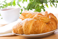 Croissant and pastry. With tea Stock Photography