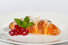 Croissant with cranberries and sugar. A croissant in powdered sugar with cranberries on a white dish Royalty Free Stock Photo