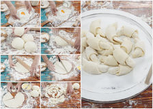 Croissant preparation collage Royalty Free Stock Image