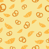 Croissant pretzel seamless pattern vector Stock Photo