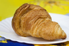Croissant on  Provence tablecloth Stock Images