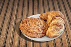 Croissant Puff Pastry Snail Rolls Sprinkled with Sesame Seeds on Stock Photography