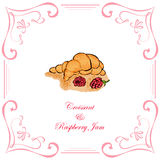 Croissant and Raspberries Royalty Free Stock Photos