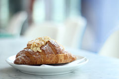 Croissant resting on a white plate. Royalty Free Stock Image