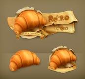 Croissant retro vector icons Stock Photography