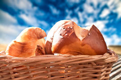 Croissant and roll Royalty Free Stock Photo