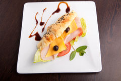 Croissant salami sandwich with cheese Stock Photos