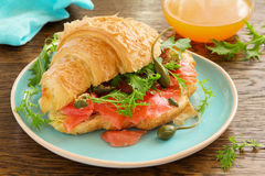 Croissant with salmon Stock Photography