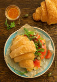 Croissant with salmon Royalty Free Stock Photos