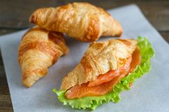 Croissant with salmon. And salad Stock Photos