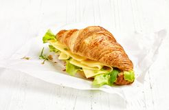 Croissant sandwich with cheese stock images