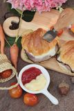Croissant sandwich with grill pork, vegetable and cheese. Stock Photos