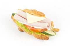 Croissant sandwich with ham cheese Royalty Free Stock Photos