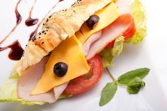 Croissant sandwich Luncheon with cheese Stock Images
