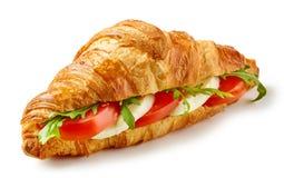 Croissant sandwich with mozzarella and tomato royalty free stock photo