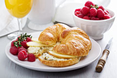 Croissant sandwich with ricotta and apples Stock Photography