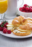 Croissant sandwich with ricotta and apples Stock Images