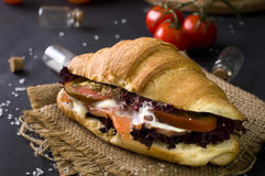 Croissant sandwich with salted salmon Royalty Free Stock Image