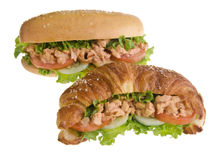 Croissant sandwich and sandwich on white Royalty Free Stock Photos
