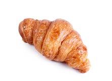 Croissant saporito con cioccolato ed inceppamento isolati su bianco fotografia stock libera da diritti