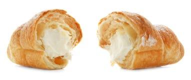 Croissant saporito con crema fotografia stock