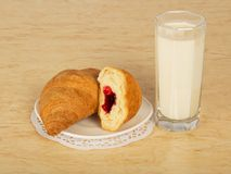 Croissant on saucer and milk glass Royalty Free Stock Image