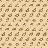 Croissant Seamless Pattern Line Style On Brown Background Stock Image