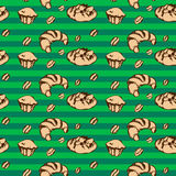 Croissant seamless pattern. Sketch vector Royalty Free Stock Image