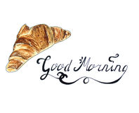Croissant sketch on white with Good Morning text. Croissant Hand Drawn sketch with Good Morning text. Isolated on white Royalty Free Stock Photos