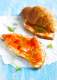 Croissant with smoked salmon and cream cheese Stock Photo