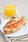 Croissant with smoked salmon and scrambled eggs Royalty Free Stock Photos